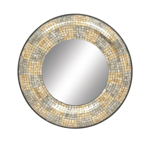 "24"" Beige Silver Metal Mosaic Look Round Wall Mirror Modern Contemporary Decor"
