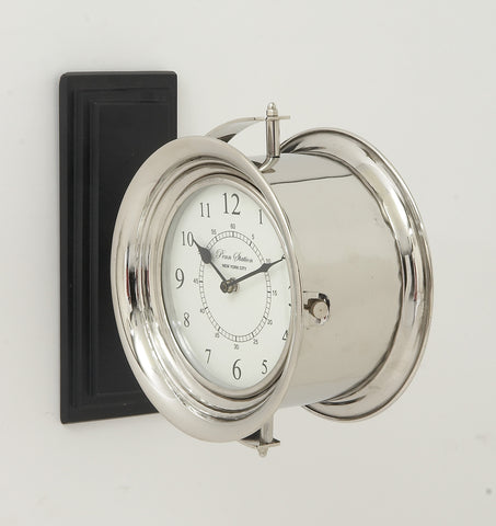 "12"" Silver Round Double Sided Metal Wall Clock Industrial Nautical Decor"