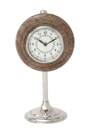 "13"" Tall Brown Wood Clock Silver Stand Mantel Table Clock  Stylish Home Decor"