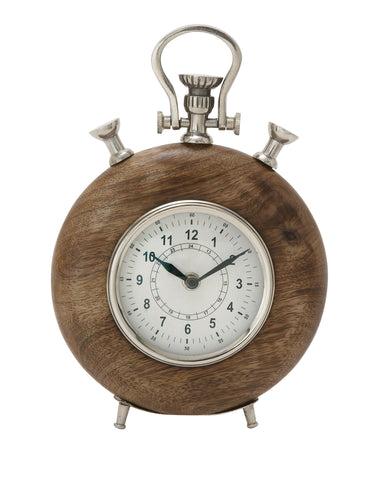 "10"" Wood Brown Mantel Table Clock Silver Metal Interior Home Decor Nautical"