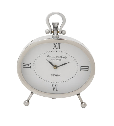 "10"" Oval Silver White Metal Mantel Table Clock Classic Oxford Style Home Decor"