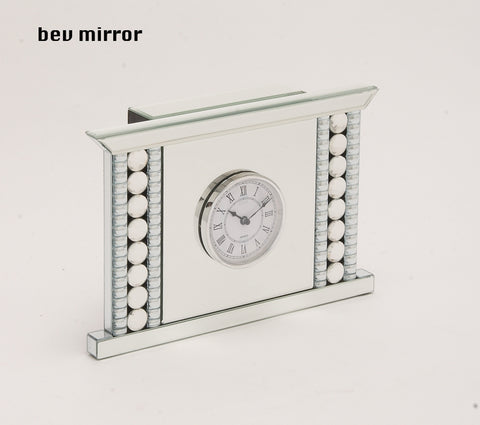 "14"" White Silver Modern Decorative Mantel Table Clock Contemporary Home Decor"