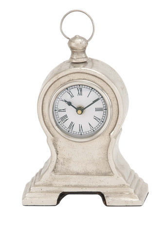 "10"" Antiqued Shabby White Silver Vintage Style Table Mantel Clock Country Decor"
