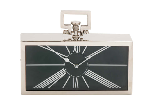 "12"" Black Silver Modern Desk Table Mantel Clock Contemporary Home Decor"