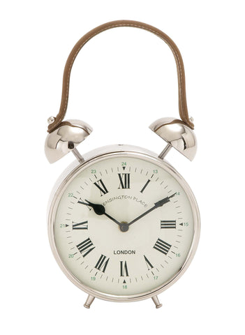 "12"" Silver Metal Alarm Bell Look Table Mantel Desk Clock with Handle"