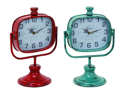 "12"" Set of 2 Metal Green Red Table Mantel Clock Distressed Retro Style Decor"