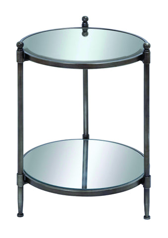 "24"" Mirrored Metal Accent End Table Night Stand Contemporary Modern Decor"