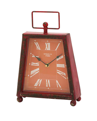 "12"" Antiqued Red Stylish Metal Mantel Table Clock Distressed Style Home Decor"
