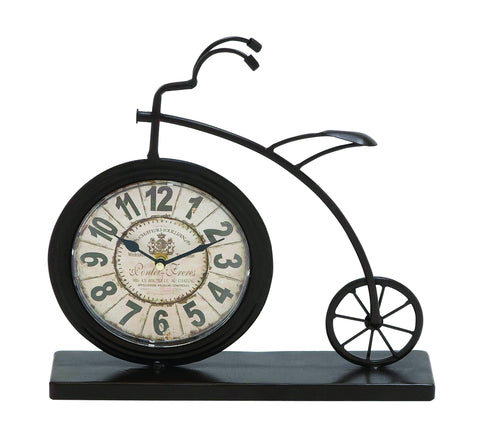 "13"" Big Wheel Vintage Bicycle Mantel Table Clock Rustic Style Home Decor"