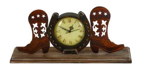 "18"" Rustic Western Wood Metal Horse shoe Cowboy Boots Mantel Table Clock Decor"