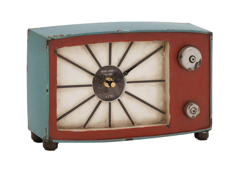 "10"" Vintage Antiqued Metal Wood Radio TV Mantel Table Clock Distresse Home Decor"