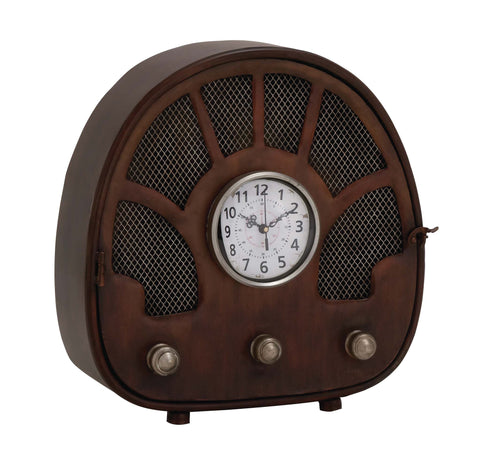 "14"" Vintage-Look Antiqued Old School Radio Metal Mantel Table Clock Decor"