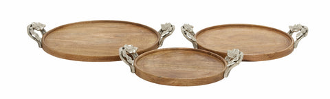 3 Round Leaf Aluminum Simple Wood Decorative Serving Tray Rustic Home Decor
