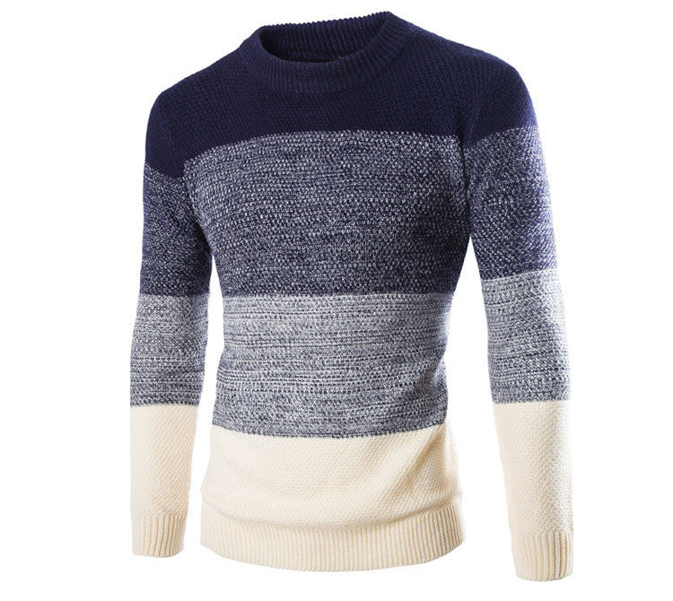 New Winter Fashion 2019 Male Sweater Pullovers O-Neck British Slim Pullover Knit Sweaters Patchwork Casual Long Sleeve Sweater