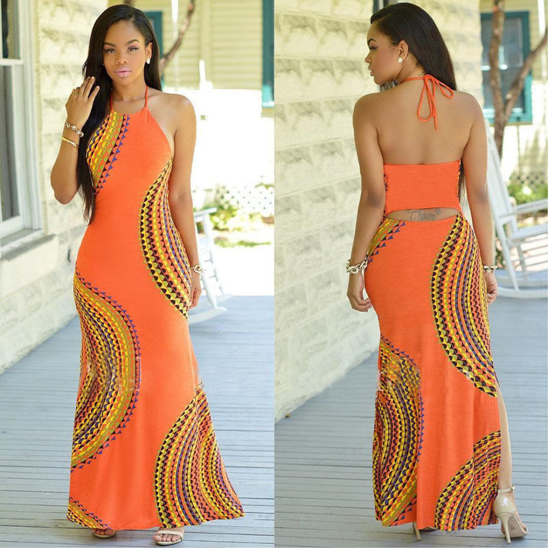 New Fashion Women Halter Dress Sleeveless Female Party Dress Ladies Printing Boho Maxi Long Dress Evening Party Dress Plus Size