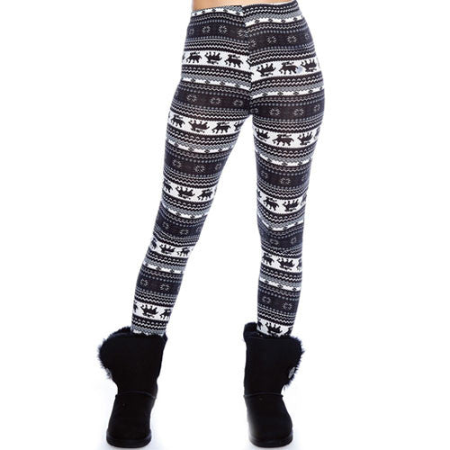 Black & Navy Reindeer Pattern Leggings