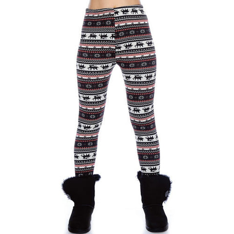 Black & Red Reindeer Pattern Leggings