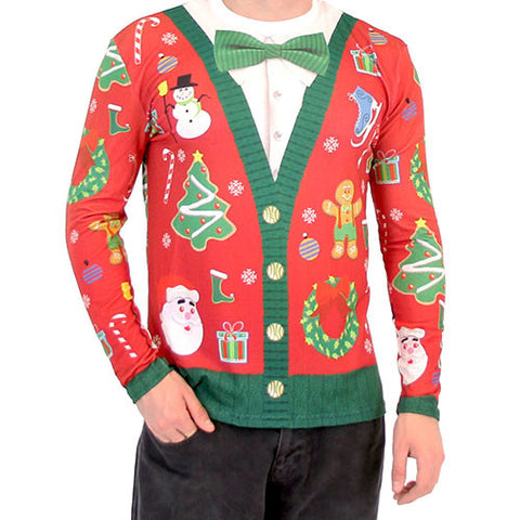 Christmas Cardigan with Bow Long Sleeve All Over Print Shirt