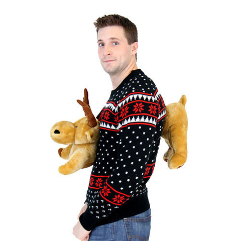 Black 3D Sweater with Stuffed Moose