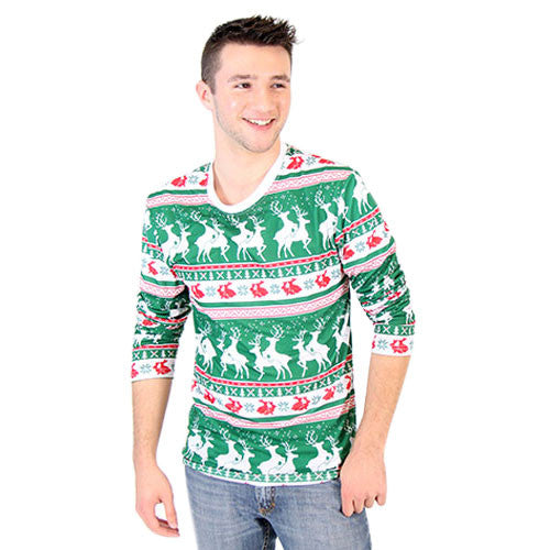 Green Reindeer Long Sleeve All Over Print Shirt