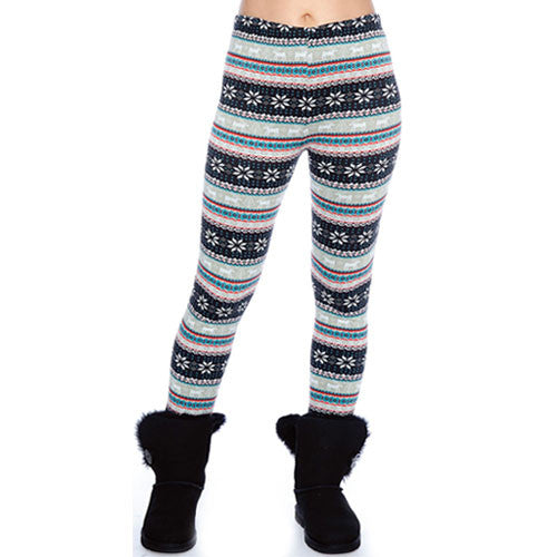 Snowflake & Reindeer Pattern Leggings