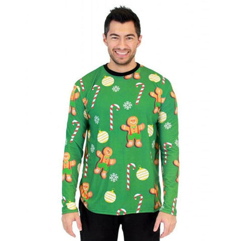 Green Gingerbread Candy Cane Long Sleeve All Over Print Shirt