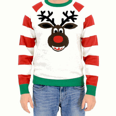 White Striped Rudolph Face Christmas Sweater