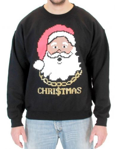 Black Santa Claus Christmas Chain Sweatshirt