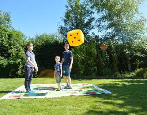 Traditional Garden Games Giant Snakes and Ladders for fun outside.  Health benefits of playing board games