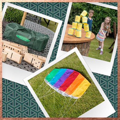 Bundle - Wooden Garden Dominos, Fairground Target Game, Foil Kite