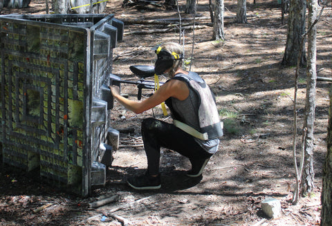 tough girl playing paintball at boss paintball fields
