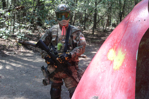 solider playing paintball at boss paintball charlotte nc