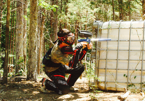 shooting next to water container at boss paintball fields charlotte nc
