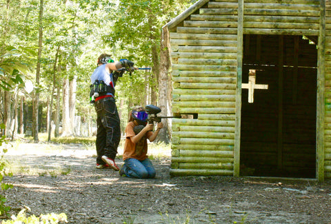 paintball gun battle at the church