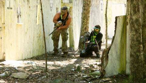 cautiously retreating at boss paintball fields