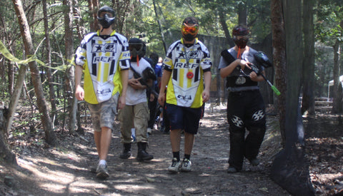 walking into a paintball game at boss paintball fields in charlotte nc