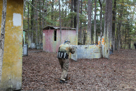 Boss Paintball fort defiant game weekend red building