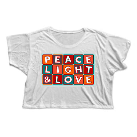 """PEACE LIGHT & LOVE"" FLOWY CROP"