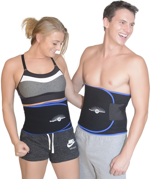 Happy Fit Couple wearing Waist Trimmer Sauna Belts