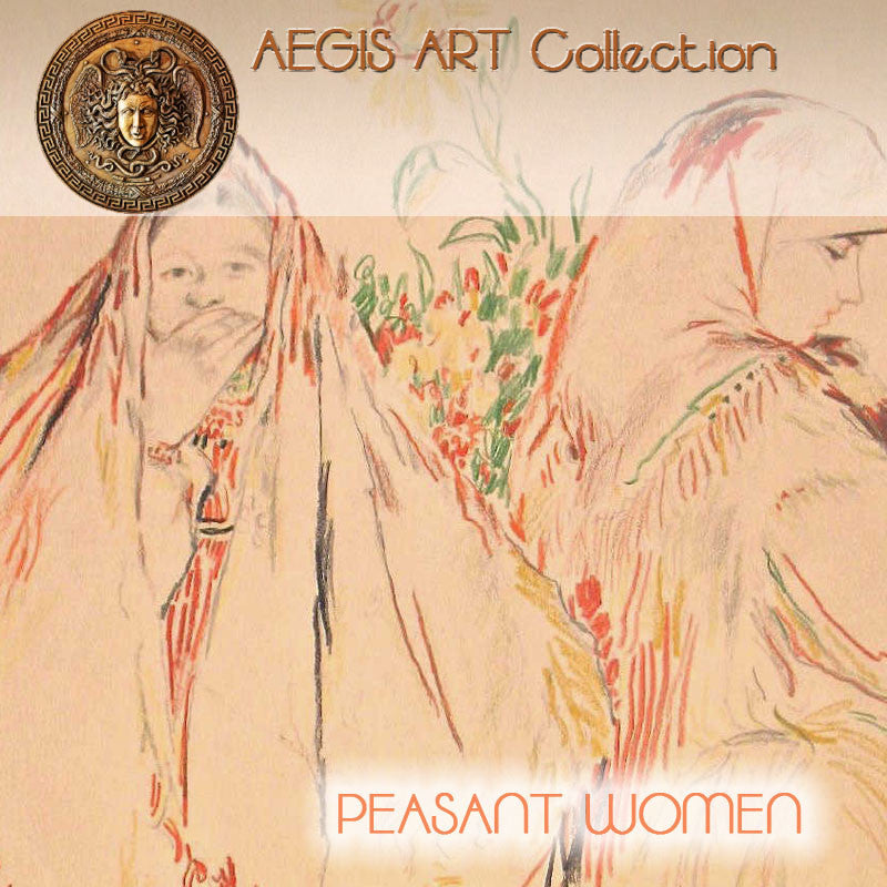 AEGIS ART Collection : PEASANT WOMEN colored pencil drawing by famous Russian artist Philippe MALYAVIN (1869-1940)