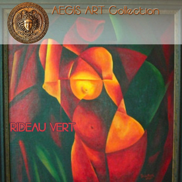 AEGIS ART Collection : RIDEAU VERT ABSTRACT NUDE by Patricia Brintle (original acrylic painting... signed)
