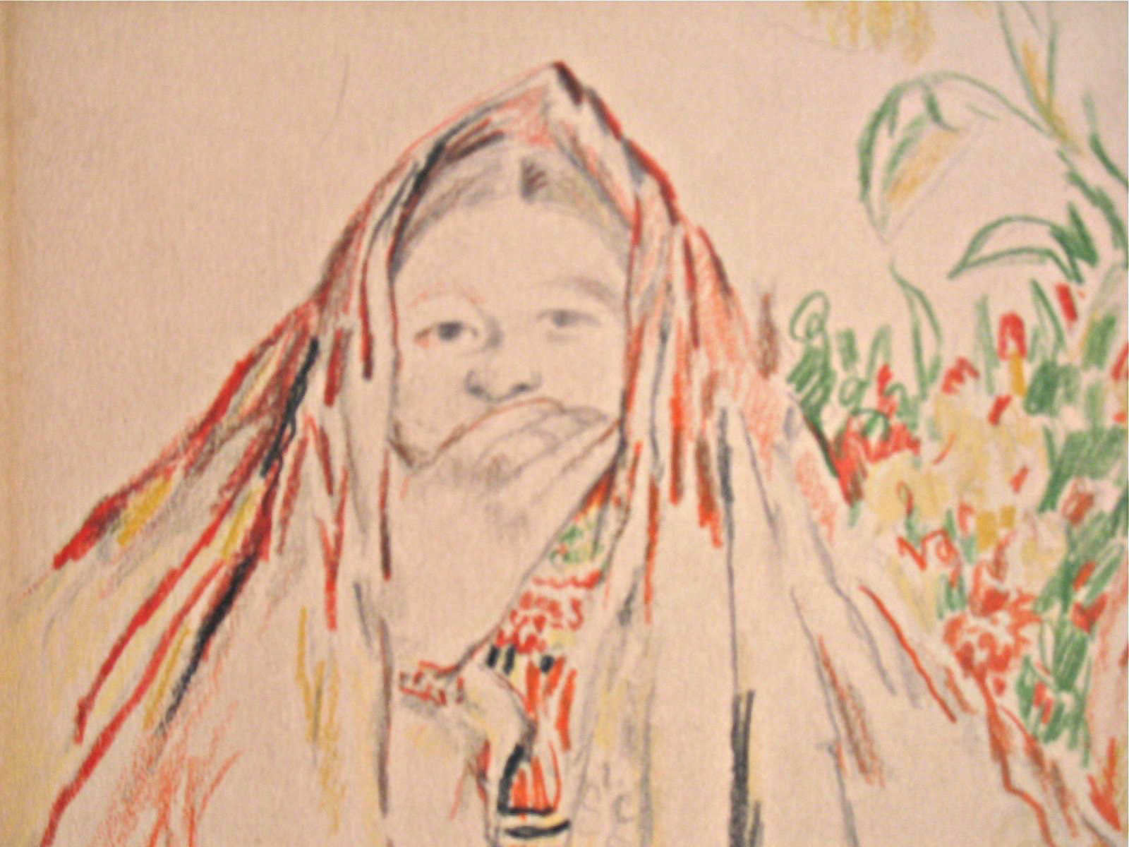 Peasant Women Colored Pencil Drawing Russian Artist Philippe