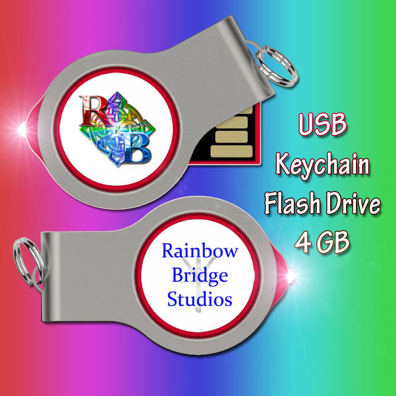 Rainbow keychain LED light USB flash drive