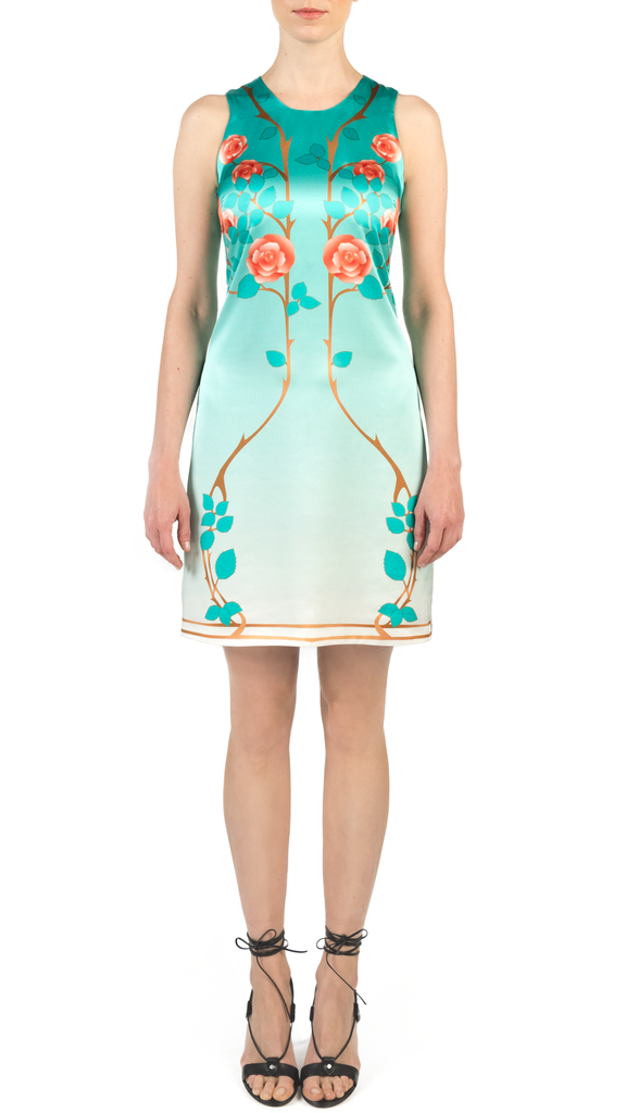 Lady Coventry Shift dress with art nouveau rose print