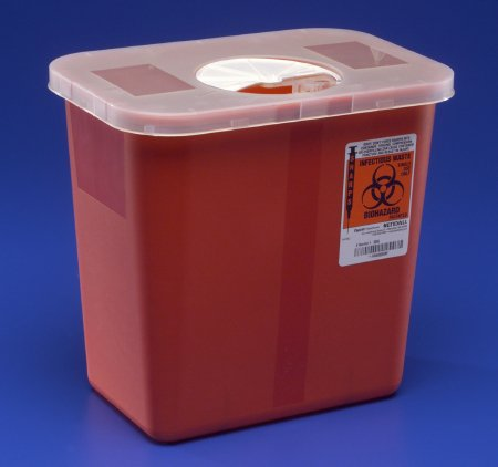 Multi-purpose Sharps Container SharpSafety™ 1-Piece 10H X 10.5W X 7.25D Inch 2 Gallon Red Base Rotor Lid