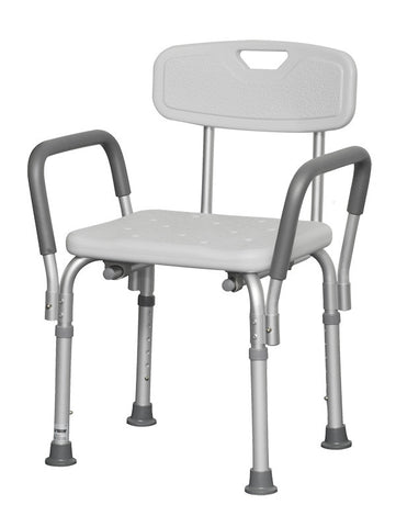 "Professional Medical Bath Bench with Back and Arms 16"" W x 13"" D Seat"