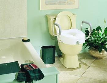 >E-z lock toilet seat w-arm. E-Z Lock Raised Toilet Seat