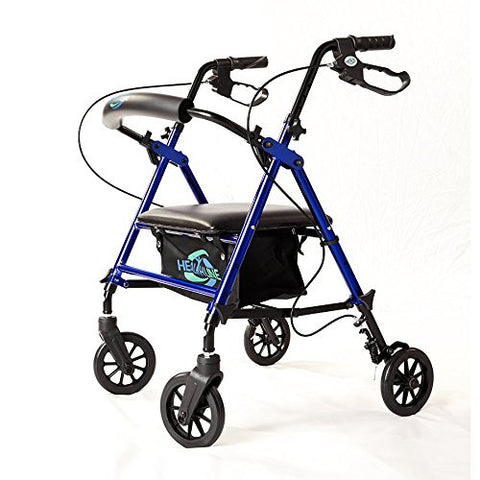 "Super Light Rollator Lightweight Aluminum Loop Brake Folding Walker Adult W/height Adjustable Seat By Legs and Arms with 6"" Wheels"