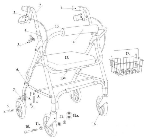 "Drive Replacement Parts for Designer Winnie, Mimi Lite Deluxe Aluminum Rollator, 6"" Casters -Drive Model # 199, 161, 162, 197"
