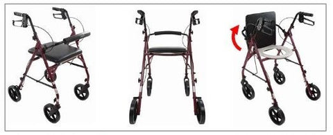 Free2Go Rollator with Toilet Seat, 8-inch Wheels - Home Health Superstore